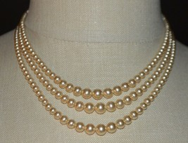 Sterling Silver Faux Glass Pearl Multi-Strand Choker Necklace Wedding Vintage - $49.49