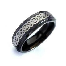 Celtic Knot Black Tungsten Carbide Ring Band; 8 mm Comfort Fit Black Ban... - $34.95