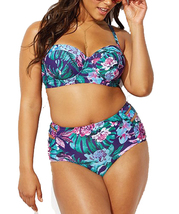Women's Plus Size Underwire Push Up High Waist Two Pieces Bikini Set - $22.99