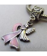 Pink Ribbon Breast Cancer Awareness Angel Bead For European Charm Bracel... - $18.00