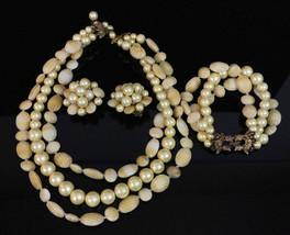 Vintage Faux Shell Pearl Marvella Signed Strand Necklace Earring Bracelet Set - $26.14