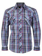 LW Men's Western Cowboy Pearl Snap Long Sleeve Cotton Rodeo Dress Shirt (2XL, 1)