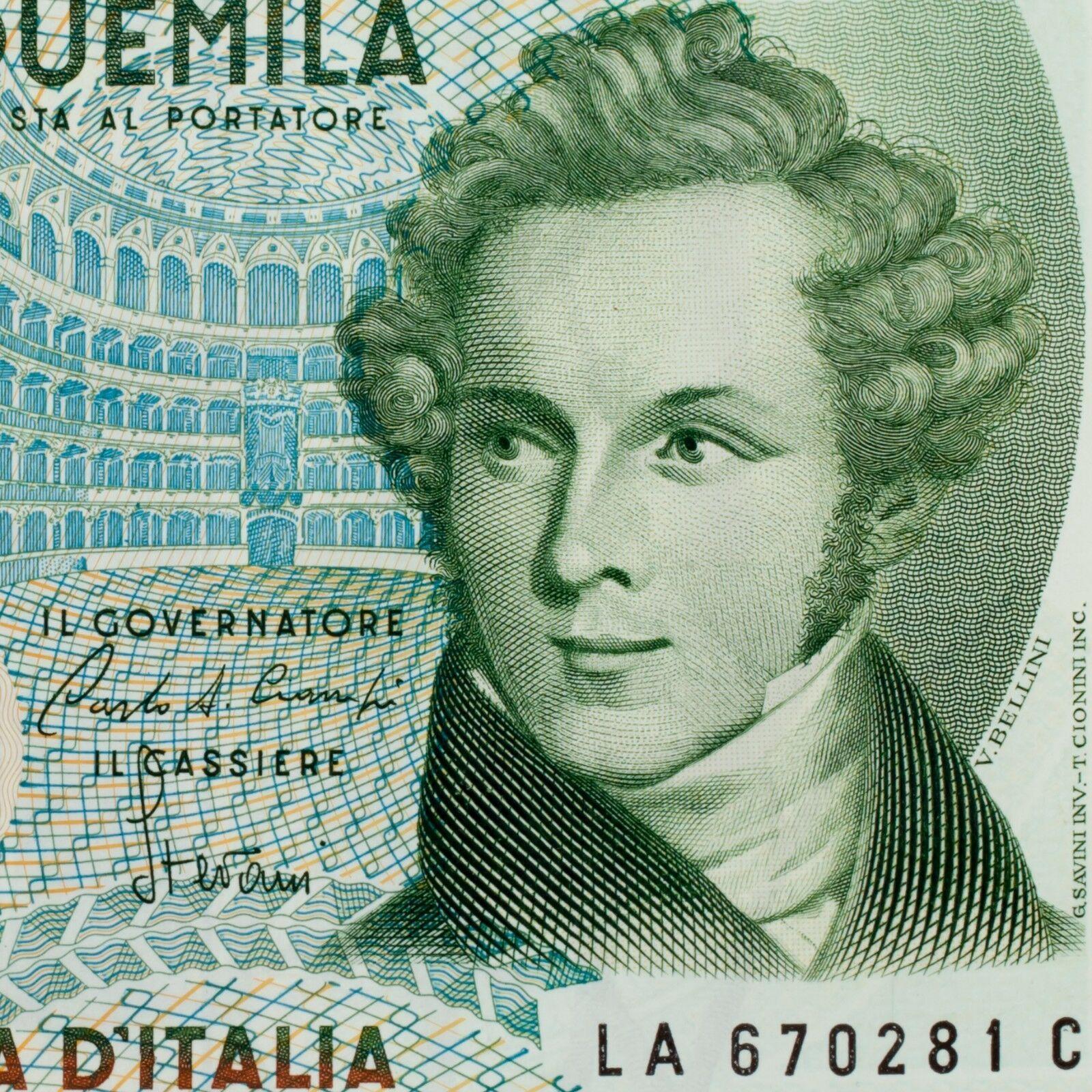 1985 Italia 5000 Liras Billete Au Estado Pick # 111a