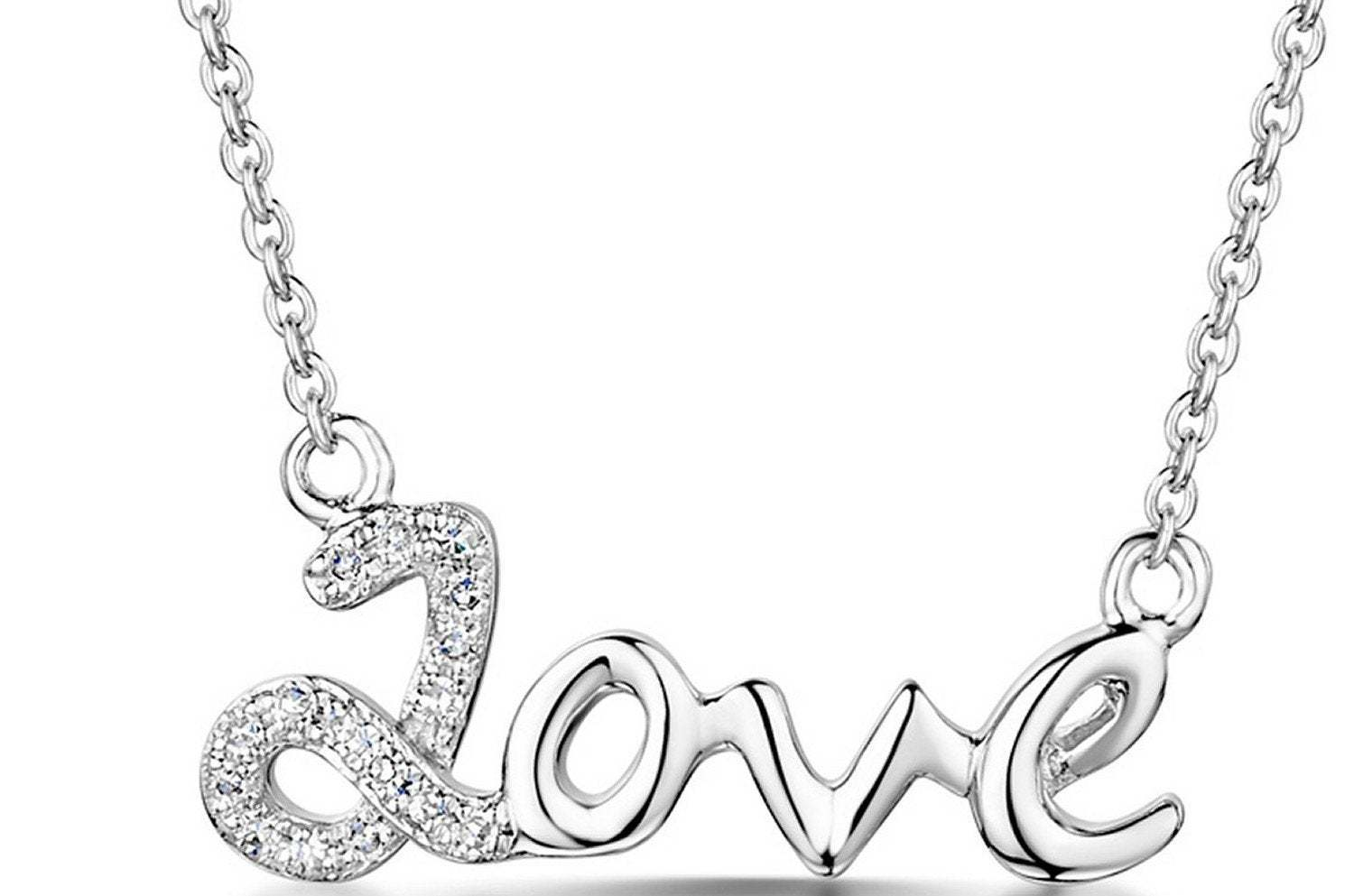 9K White Gold Diamond Love Necklace
