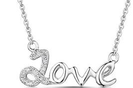 9K White Gold Diamond Love Necklace