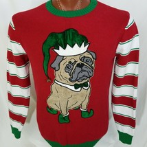 Ugly Christmas Sweater Juniors Pug Elf 3D Jingle Bell Pullover Sweater R... - $29.11