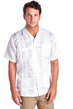 New Guayabera Men's Cuban Bartender Wedding Dress Shirt Satin (4X-Large, White)