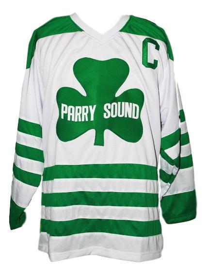 Custom parry sound shamrocks retro hockey jersey white   1