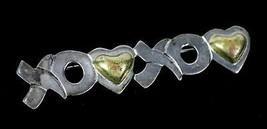 "Vintage .925 Sterling Silver Mexico XO XOXO Love Heart 2.75"" Fashion Pin... - $25.07"