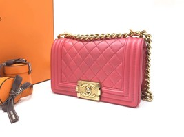 AUTHENTIC CHANEL PINK QUILTED LAMBSKIN SMALL BOY FLAP BAG GHW WITH RECEIPT image 4
