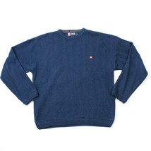 Vintage Chaps Ralph Lauren Crewneck Sweater Herringbone Hand Framed Blue Knit Xl - $17.83