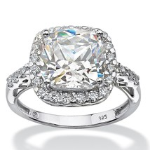 5.78 TCW Created White Sapphire Platinum over .925 Halo Engagement Ring - $99.99