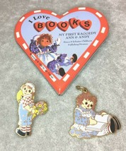 Raggedy Ann Book Pin Reading Charm Pendant Flowers Andy Collector - $9.99