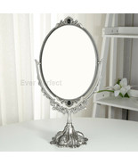 Ancient Bronze Retro Metal Desktop Cosmetic Makeup Mirror Table Dresser ... - $88.01