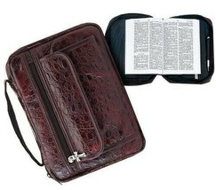 Burgundy Genuine Leather Bible Book Cover Purse Case Tote Bag Unisex - $11.77