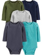 Simple Joys by Carter's Baby 5-Pack Long-Sleeve Bodysuit, Solids, Preemie - $23.75