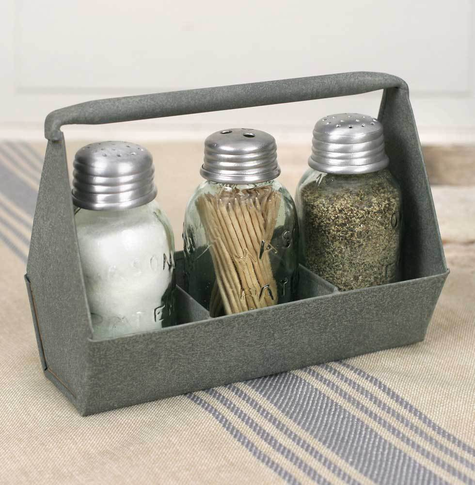Country Farmhouse Tool Box Salt and Pepper Shaker Set Toothpick Holder