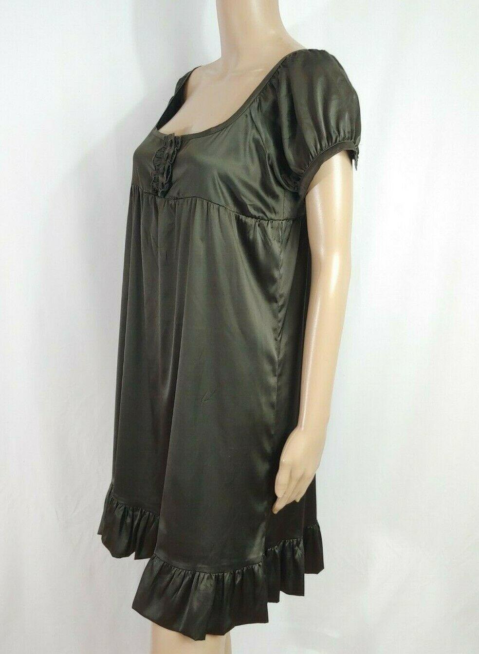 Bershka Zara Empire Babydoll Shirt Dress M Dark Brown Satin Ruffle Dolly Boho