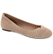 Lucky Brand Enorahh Perforated Flats 8.5 M Tan Beige Leather Shoes Ballet  - $31.49