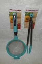 2 Pc Kitchenaid Silicone Tipped Tongs & Strainer Aqua Sky NWT FREE SHIPPING - $39.59