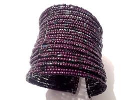 Stunning Vintage Boho Beaded Wire Cuff Bracelet Brown Glass Beads - $3.00