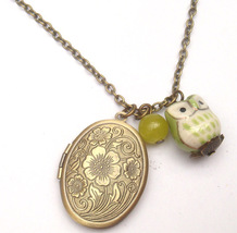 Antiqued Brass Crystal Porcelain Owl Locket Necklace Handmade Vintage Style - $13.99