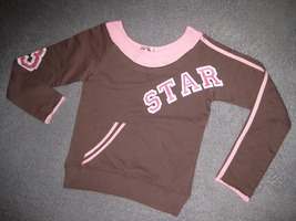 GIRLS 14 - Derek Heart - Pullover Brown w/Pink Trim Star  KNIT TOP - $8.92