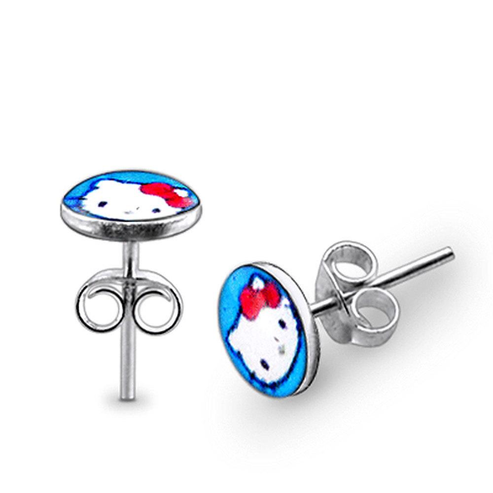 Light Blue Hello Kitty 925 Sterling Silver Stud Earring - $5.20