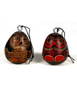 Two Hand Carved Gourd Owl Hanging Ornaments Per... - $11.83