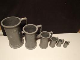 6 VINTAGE EUROPEAN PELTRATO 95% PEWTER MEASURING CUPS~~rare set - $59.99