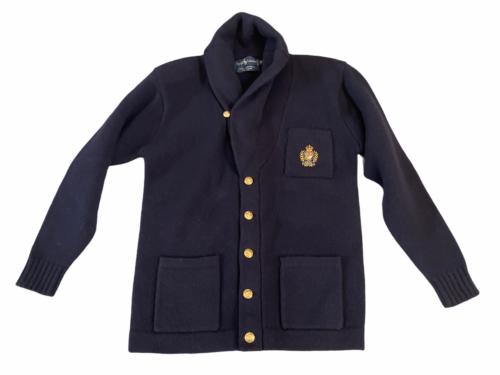 Vintage Women Navy Blue Ralph Lauren Wool Cardigan Sweater M Made in Hong Kong