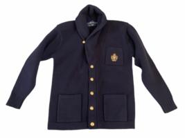 Vintage Women Navy Blue Ralph Lauren Wool Cardigan Sweater M Made in Hong Kong image 1