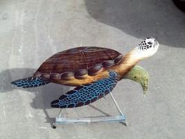 Sea Turtle Carved painted Palm Tree Frond tortoise animal nautical sea art - $104.73 CAD