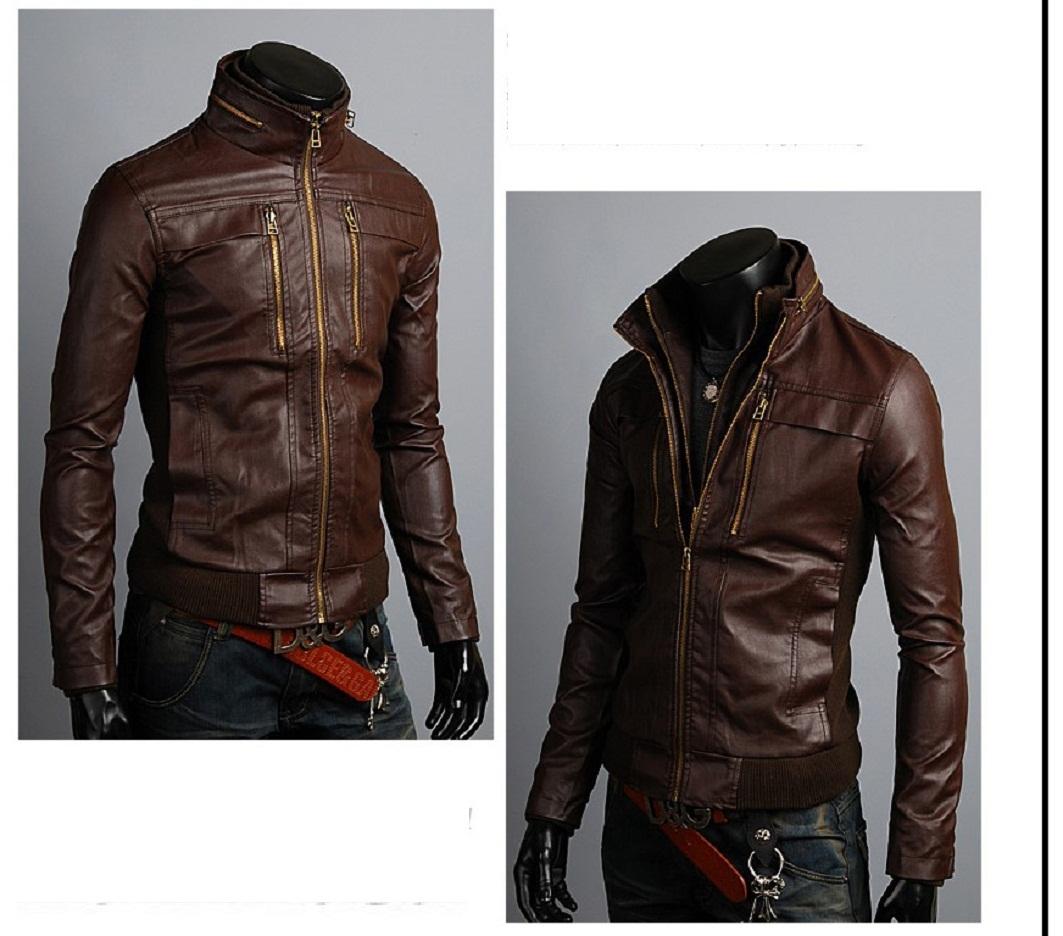 Mens slim leather jackets