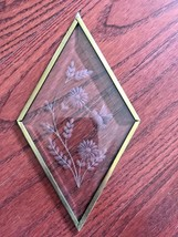 Glass Etched Hummingbird Sun Catcher Diamond Brass Metal Framed - $28.71