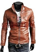 Handmade New Men Stylish Stretch Panel Back Leather Jacket, Men leather jacket - $189.00