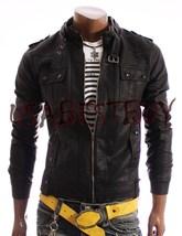Handmade New Men Stylish Latest Strap Pocket Bomber Leather Jacket, Biker Jacket - $189.00