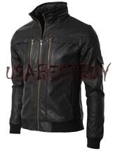 Handmade New Men Zip Encircled Collar Bomber Leather Jacket, Men leather... - $189.00