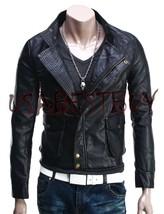Handmade New Men Stylish Classic Stitching Bomber Leather Jacket, Biker ... - $189.00