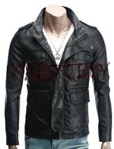 Handmade New Men Latest Style Pockets Bomber Leather Jacket, Men leather... - $189.00