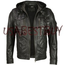 Handmade New Men Stylish Fabric Hooded Biker Leather Jacket, Men leather... - $149.00