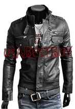 Handmade New Men Latest Belted Collar Bomber Leather Jacket, Men leather... - $139.00