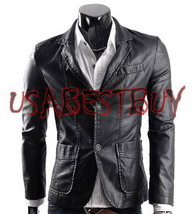 Handmade New Men Stylish Button Closure Front Leather Jacket, Men leathe... - $139.00
