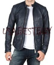 Handmade New Men Stylish Simple Vintage Bomber Leather Jacket - $189.00