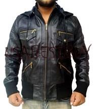 Handmade New Men Stylish Latest Hooded and Ribbed Leather Jacket - $189.00