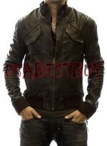 Handmade New Men Stylish Front Unique Pocket Style Bomber Leather Jacket - $189.00