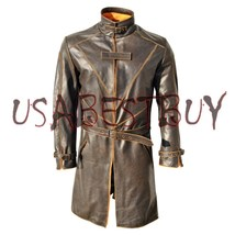 CUSTOM MADE WATCH DOGS AIDEN PEARCE BROWN TRENCH COAT IN COW HIDE LEATHE... - $239.00