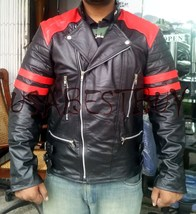 Handmade New Men Stylish Brando Red and Black Bomber Leather Jacket - $139.00