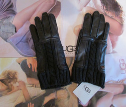 UGG Gloves Alexis Leather Knit Black Small NEW $145 - $95.00