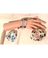 NeW  Memory Wire Stretch Wrap  Cuff Bracelet ~  Multi Color Beads Crackl... - $4.99